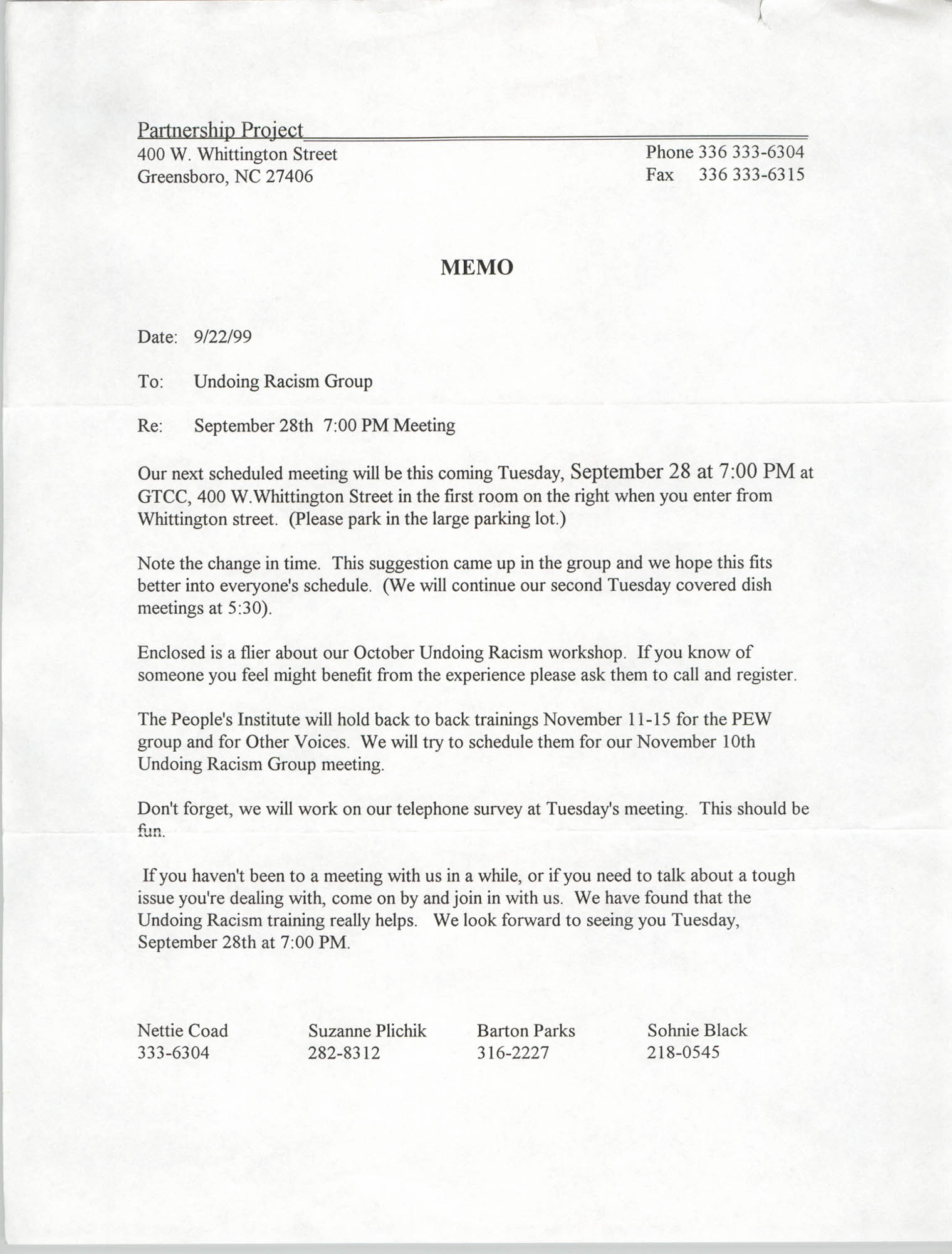 Memorandum, Partnership Project, September 22, 1999