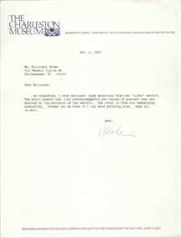Letter from the Charleston Museum to Millicent Brown, October 1, 1991