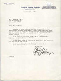 Letter from Ernest F. Hollings to Septima Clark, December 9, 1976