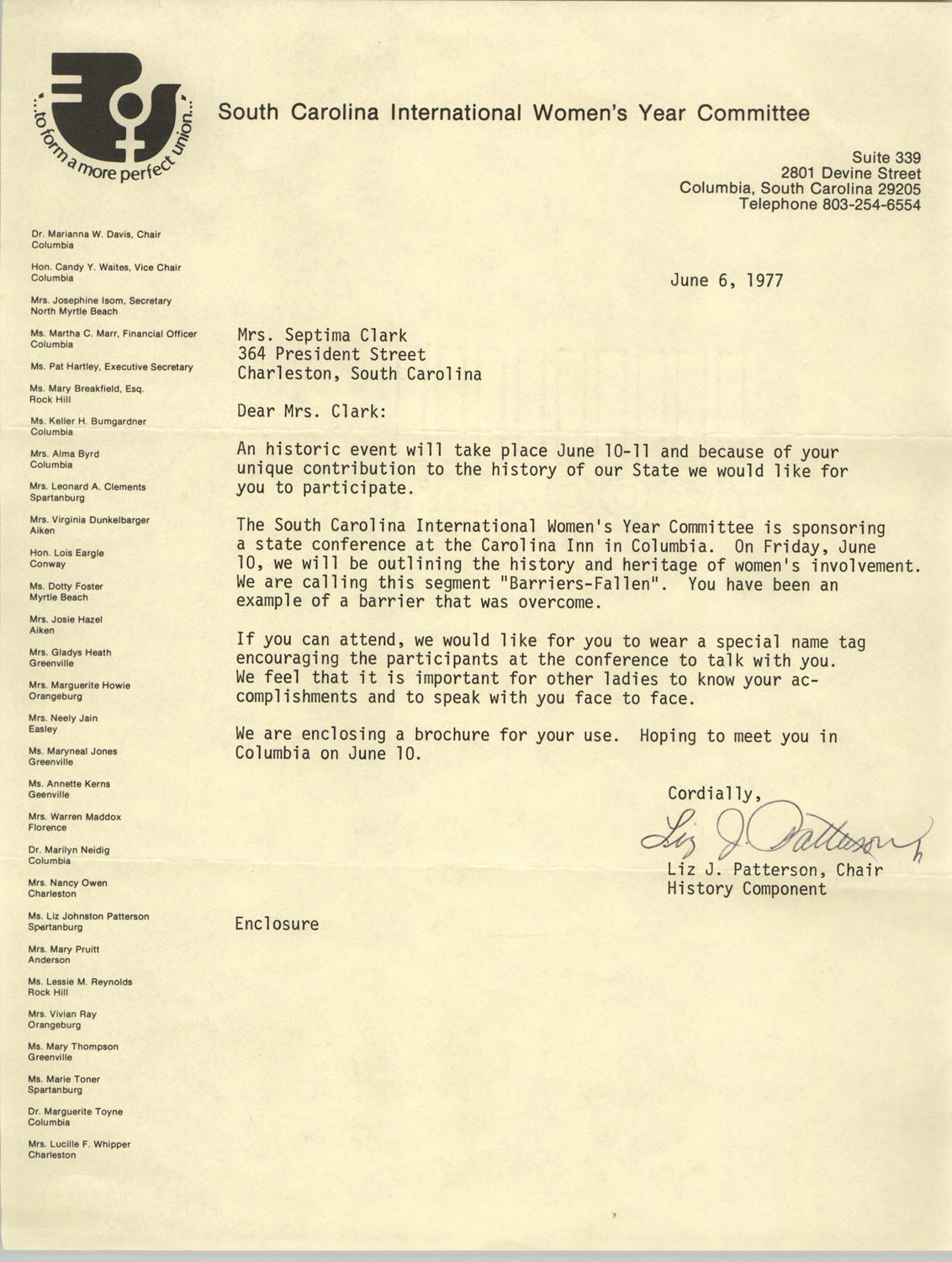 Letter from Liz J. Patterson to Septima P. Clark, June 6, 1977