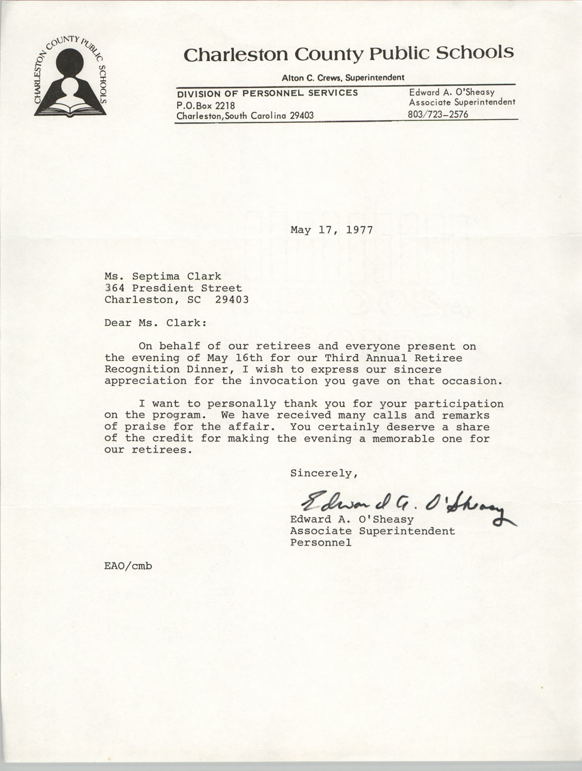 Letter from Edward A. O'Sheasy to Septima P. Clark, May 17, 1977