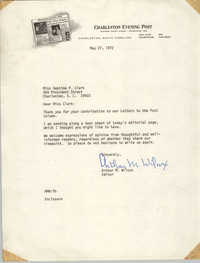 Letter from Arthur M. Wilcox to Septima P. Clark, May 27, 1972