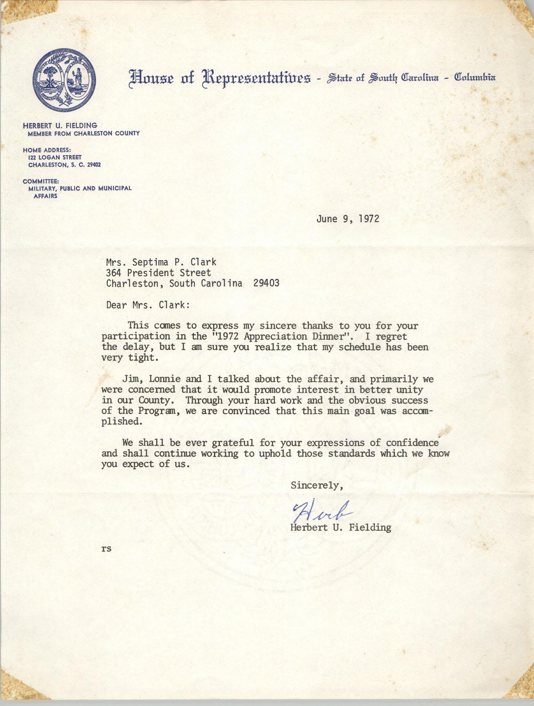 Letter from Herbert U. Fielding to Septima P. Clark, June 9, 1972