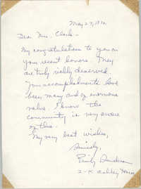 Letter from Emily Sanders to Septima P. Clark, May 27, 1972