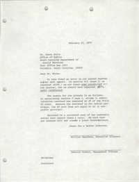 Letter from William Saunders and Deborah McBeth to Steve White, February 22, 1979