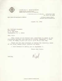 Letter from Charles E. Montgomery to William Saunders, August 16, 1982