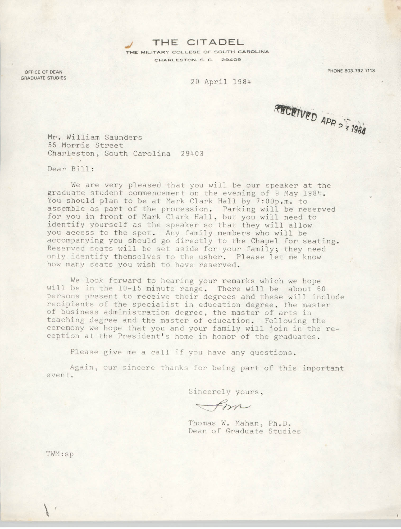 Letter from Thomas W. Mahan to William Saunders, April 20, 1984