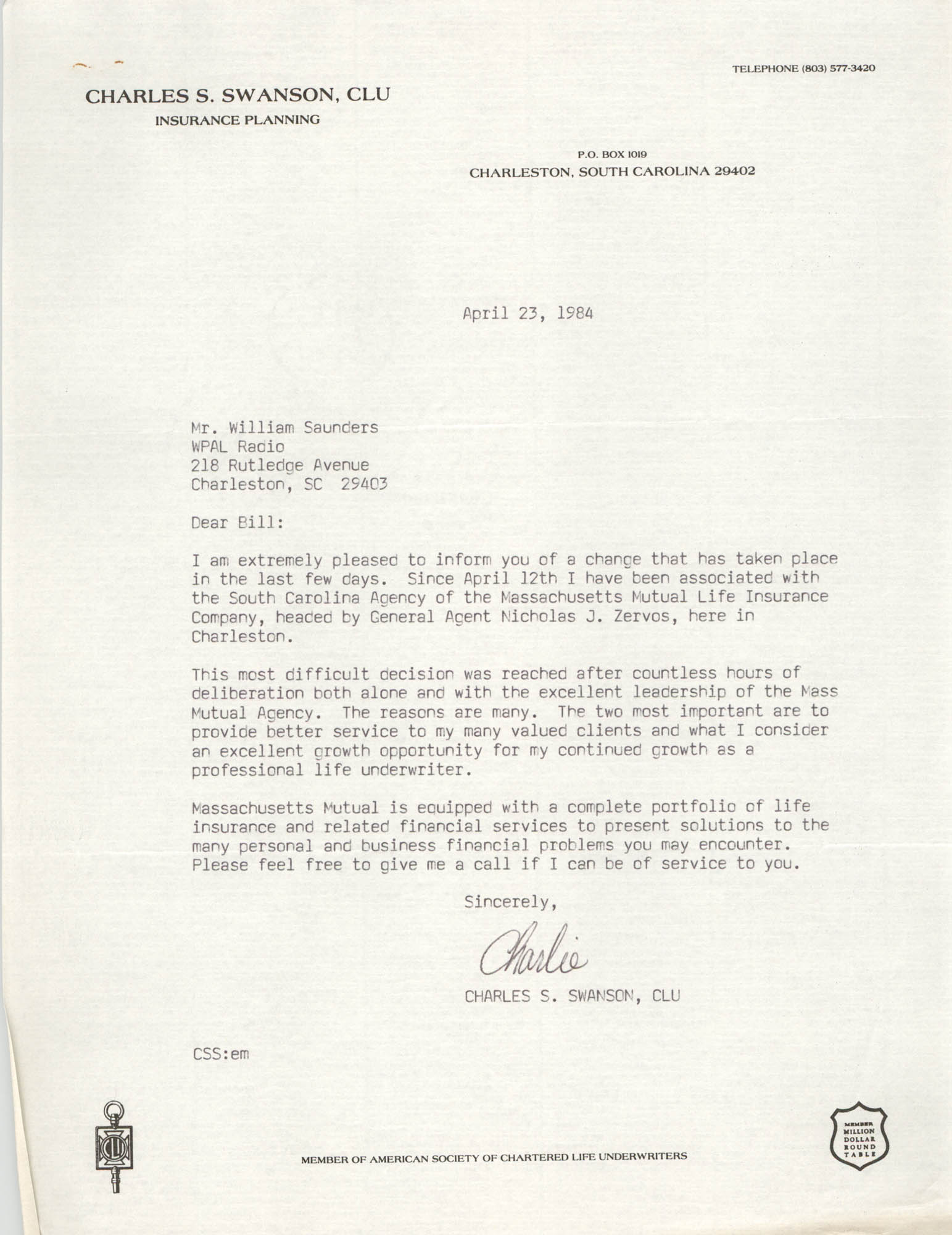 Letter from Charles S. Swanson, April 23, 1984