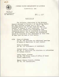 United States Department of Justice Notice, July 12, 1977