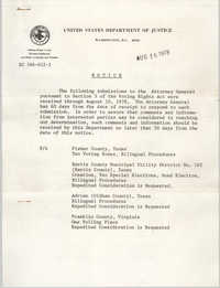 United States Department of Justice Notice, August 16, 1978