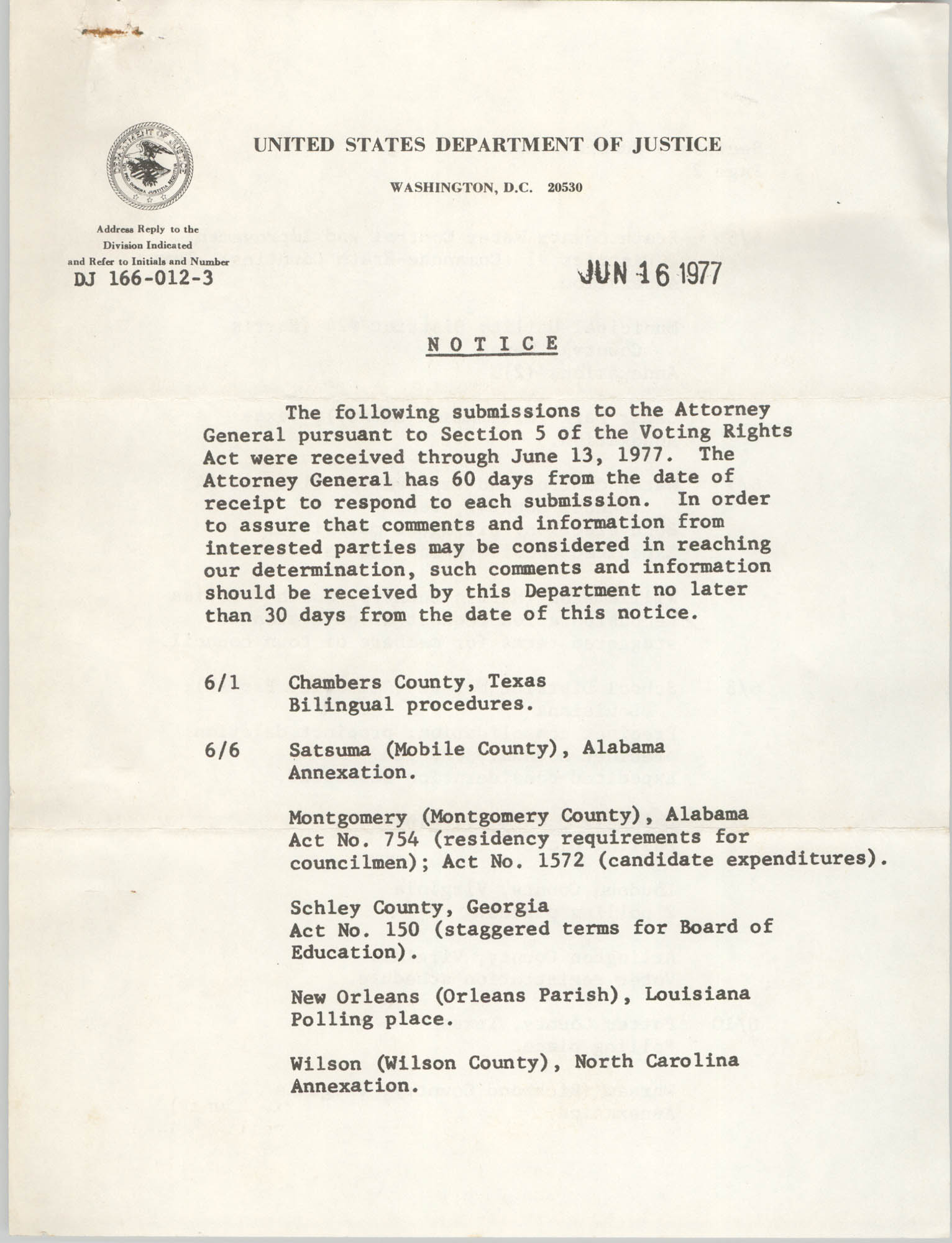 United States Department of Justice Notice, June 16, 1977
