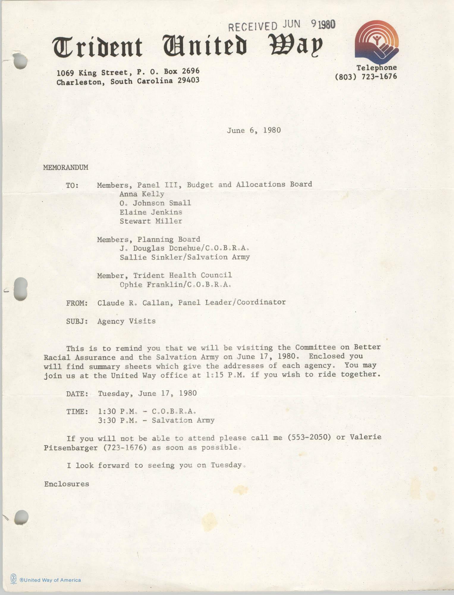 Trident United Way Memorandum, June 6, 1980