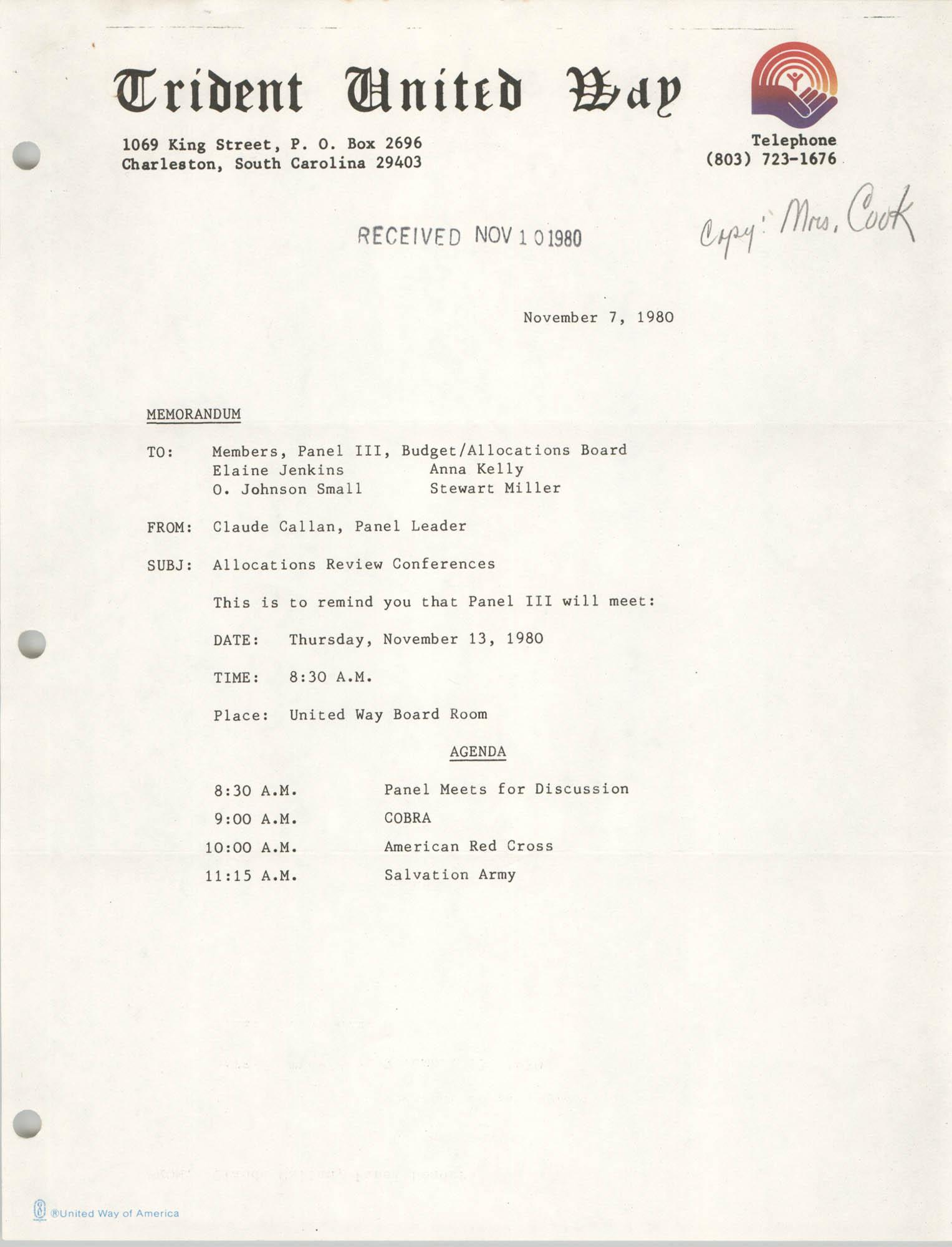 Trident United Way Memorandum, November 7, 1980