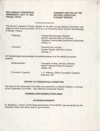 85th Annual Convention Summary Minutes of the Second Legislative Plenary Session, July 13, 1994