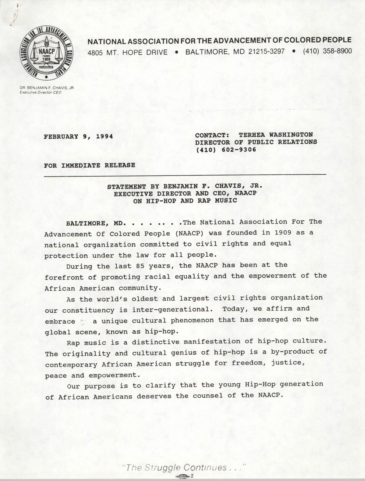 NAACP Press Release, February 9, 1994