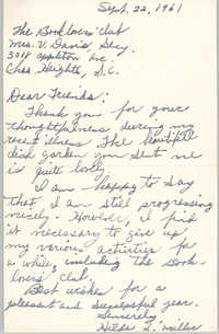 Letter from Hilda L. Miller to Book Lovers' Club Member, September 22, 1961