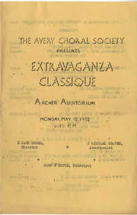 Program to the Avery Choral Society of