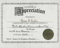 Certificate of Appreciation, Anna D. Kelly