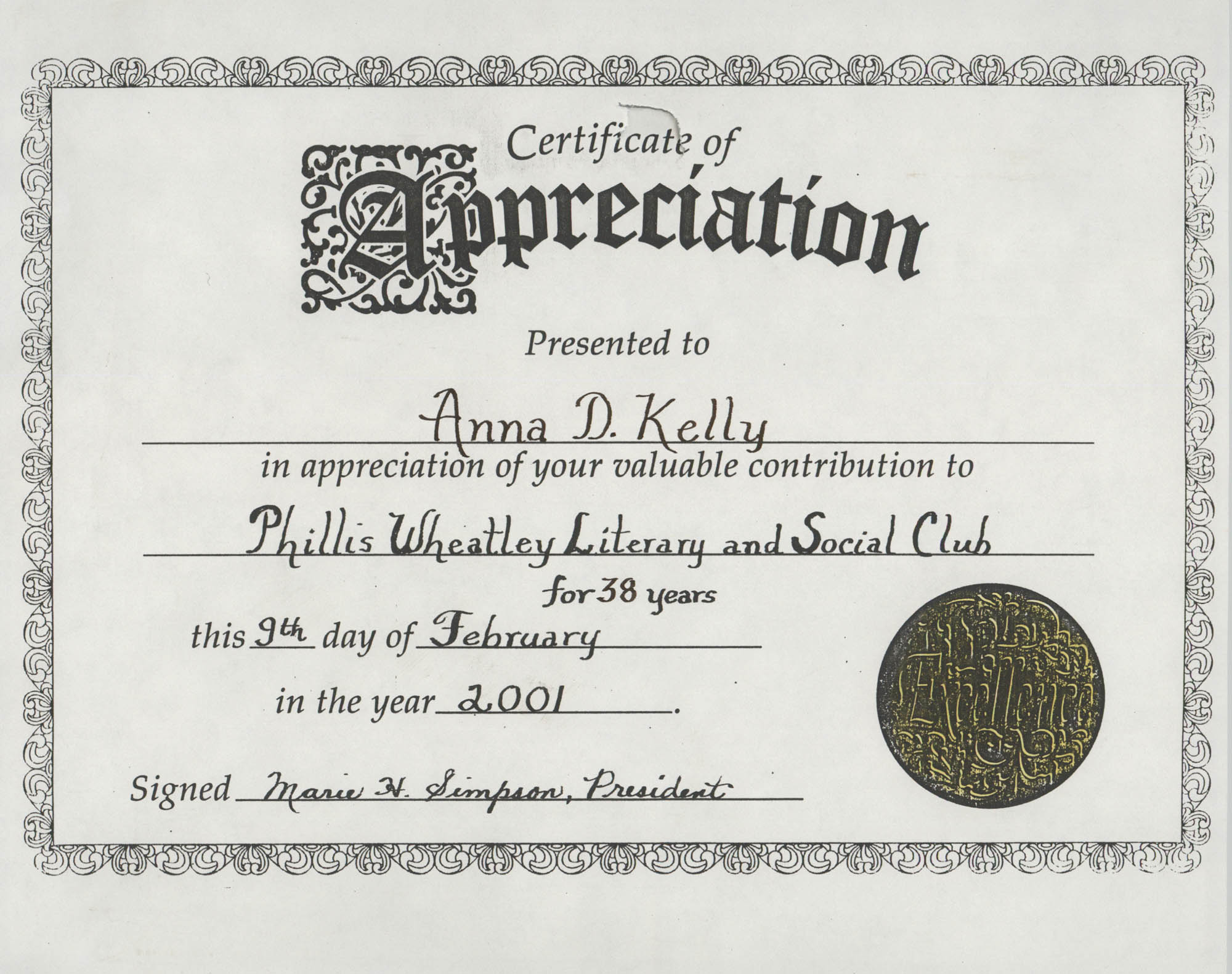 Certificate of Appreciation, Anna D. Kelly
