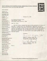 Letter from Edward E. Ledford and Janet D. Sharwell to Septima P. Clark, February 27, 1978