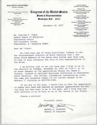 Letter from Walter E. Fauntroy to Septima P. Clark, November 18, 1977