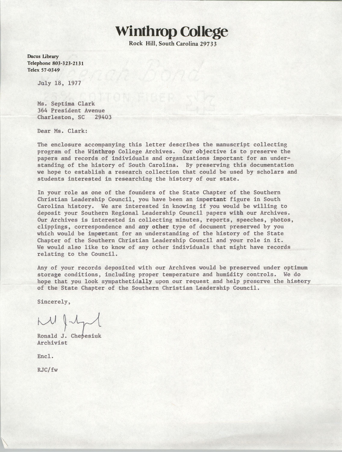 Letter from Ronald J. Chepesiuk to Septima P. Clark, July 18, 1977