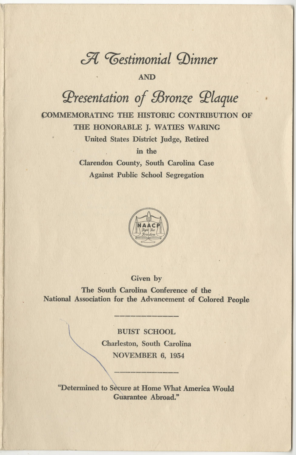 Program to A Testimonial Dinner Commemorating Honorable J. Waties Waring