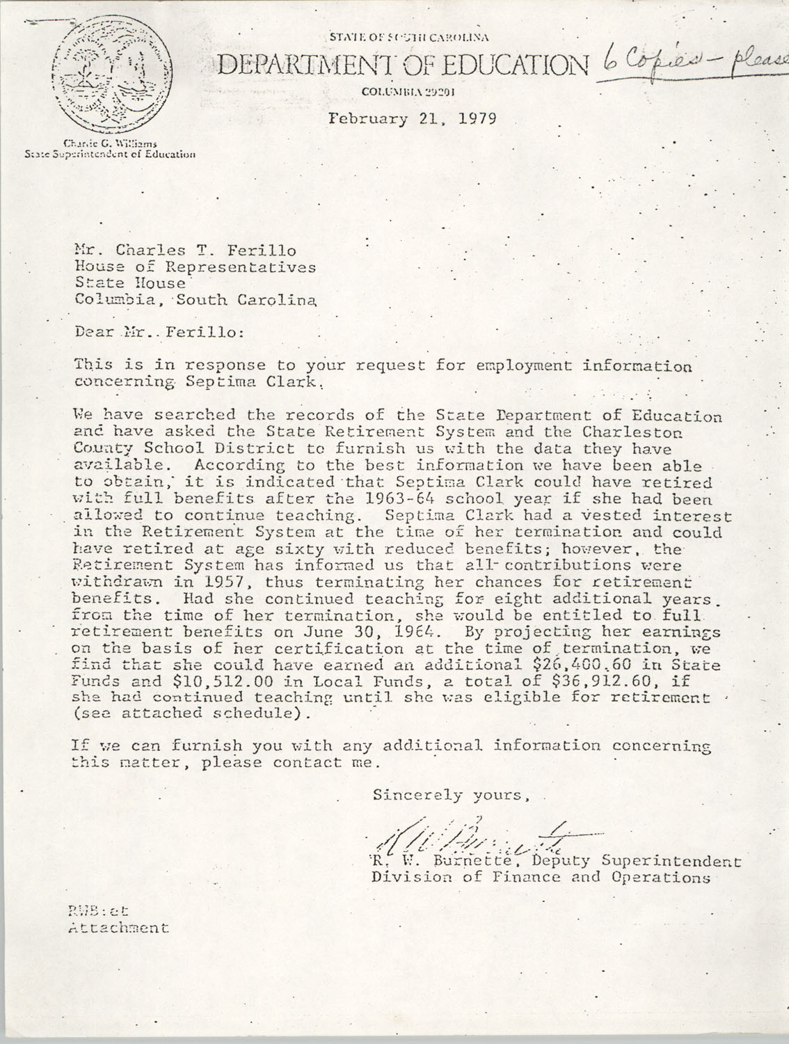 Letter from R. W. Burnette to Charles T. Ferillo, February 21, 1979