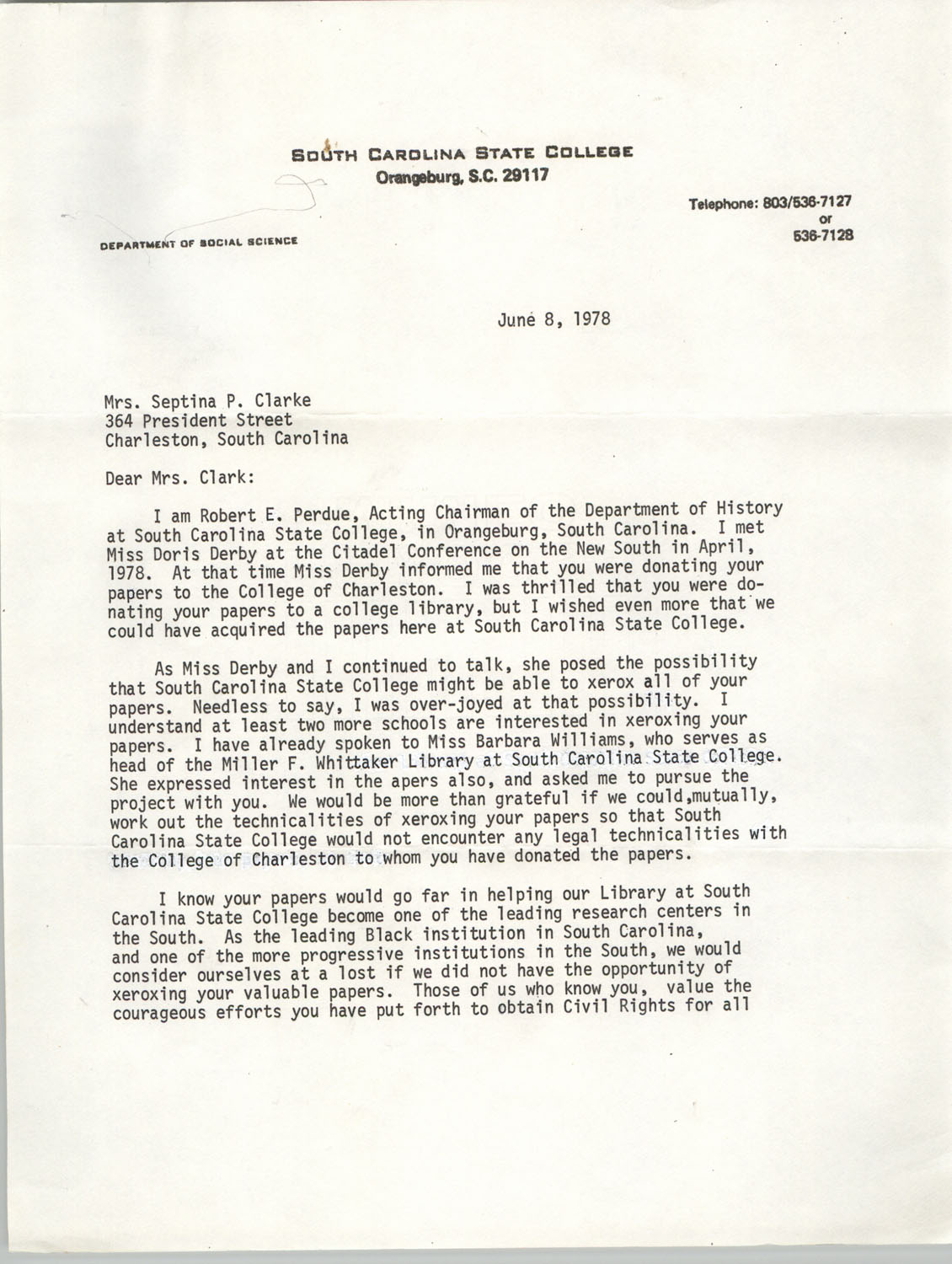Letter from Robert E. Perdue to Septima P. Clark, June 8, 1978