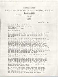 Letter from Marie K. Warren to Keith M. Thompson, February 9, 1978