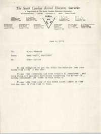 South Carolina Retired Educators Association Memorandum, June 6, 1974