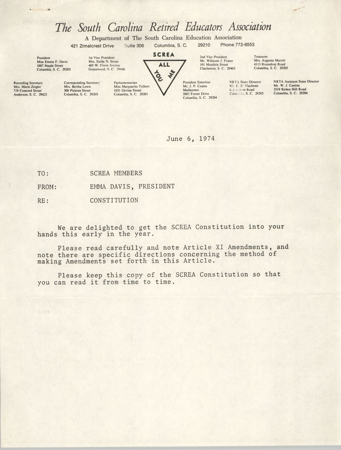South Carolina Retired Educators Association Memorandum, June 6, 1974