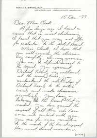 Letter from Ron McWhirt to Septima P. Clark, December 15, 1977