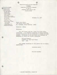 Letter from William Saunders to Wando High School, November 30, 1977