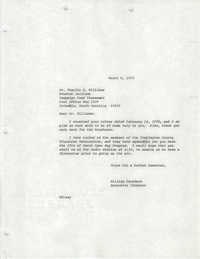 Letter from William Saunders to Charlie G. Williams, March 6, 1978