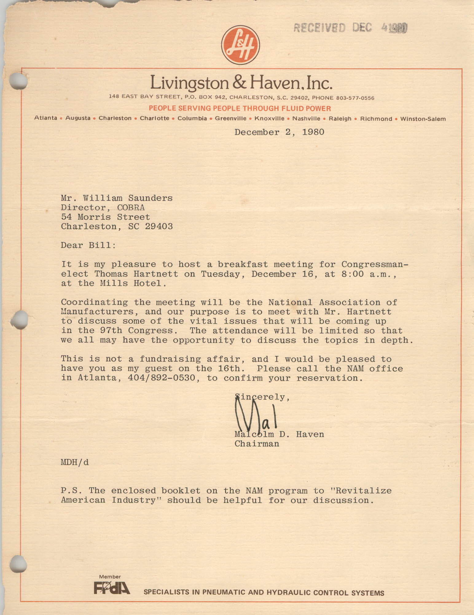 Letter from Malcolm D. Haven to William Saunders, December 2, 1980