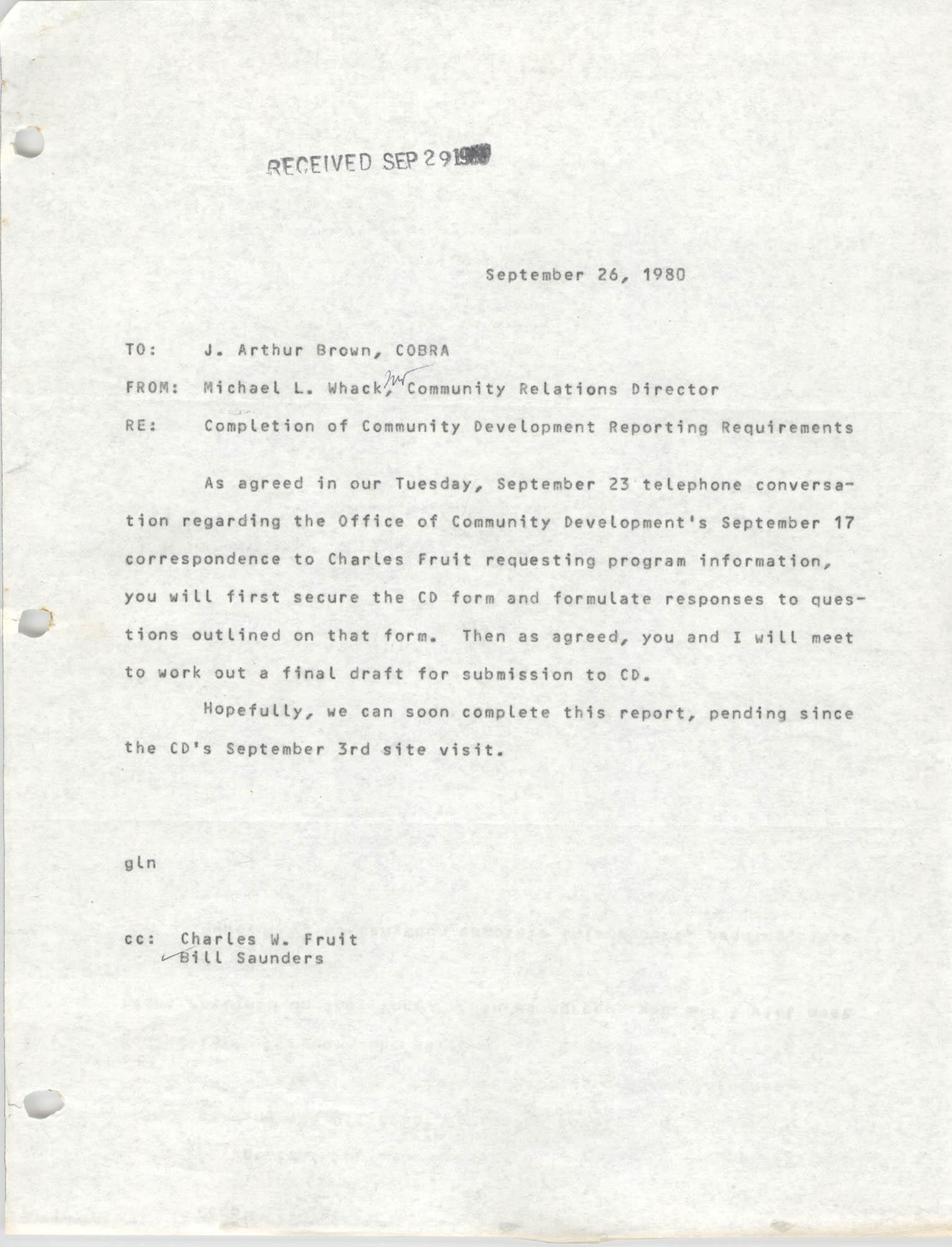 Letter from Michael L. Whack to J. Arthur Brown, September 26, 1980