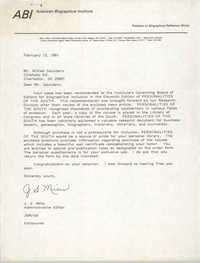 Letter from J. S. Mills to William Saunders, February 13, 1981
