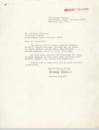 Letter from Bernard Bodison to William Saunders, February 12, 1979