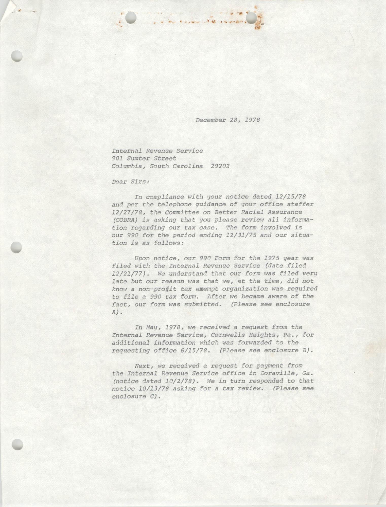 Letter from Deborah McBeth and William Saunders to the IRS, December 28, 1978