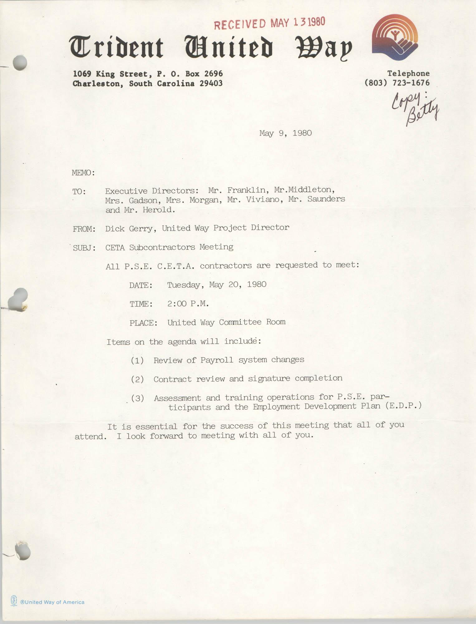 Trident United Way Memorandum, May 9, 1980