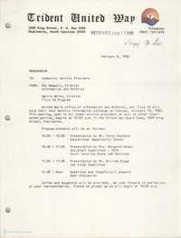 Trident United Way Memorandum, February 8, 1980