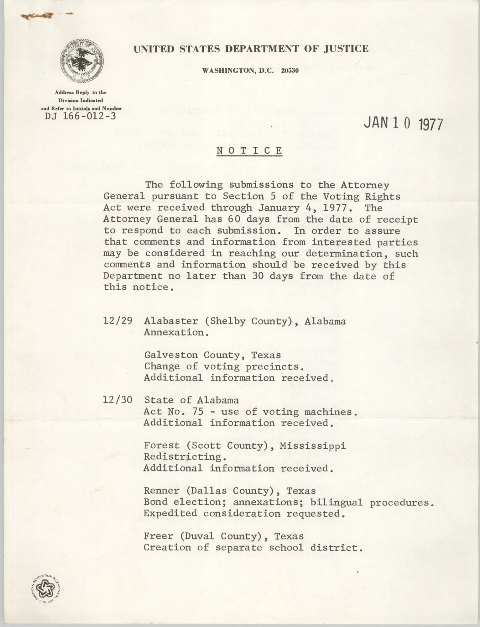 United States Department of Justice Notice, January 10, 1977