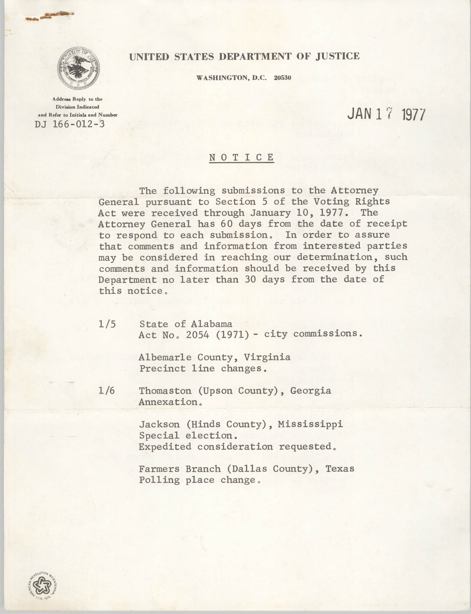 United States Department of Justice Notice, January 17, 1977