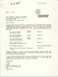 Letter from John B. Holloway, Jr. to Dwight C. James, May 27, 1992