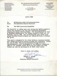 Letter from Dwight C. James to Lowcountry Area Churches, June 5, 1992