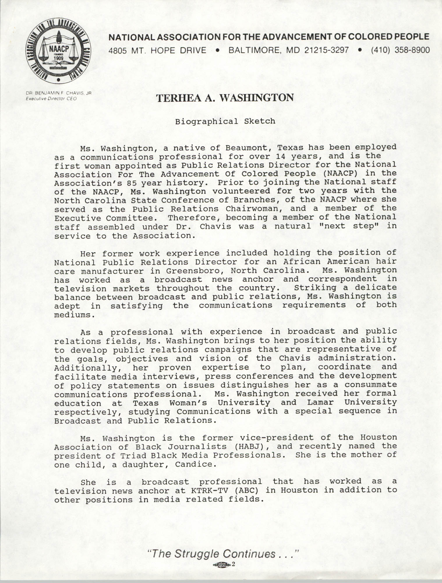 Biographical Sketch of Terhea A. Washington
