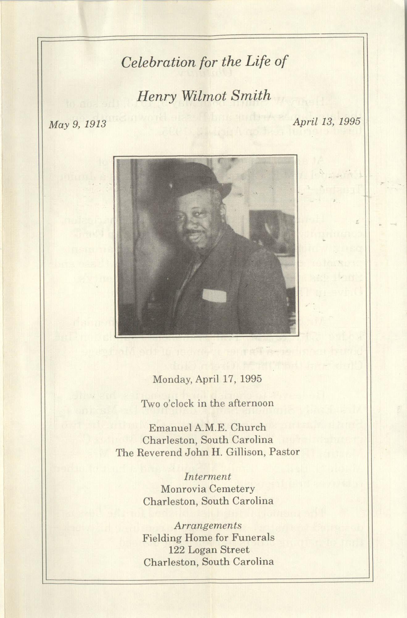 Program, Celebration for the Life of Henry Wilmot Smith