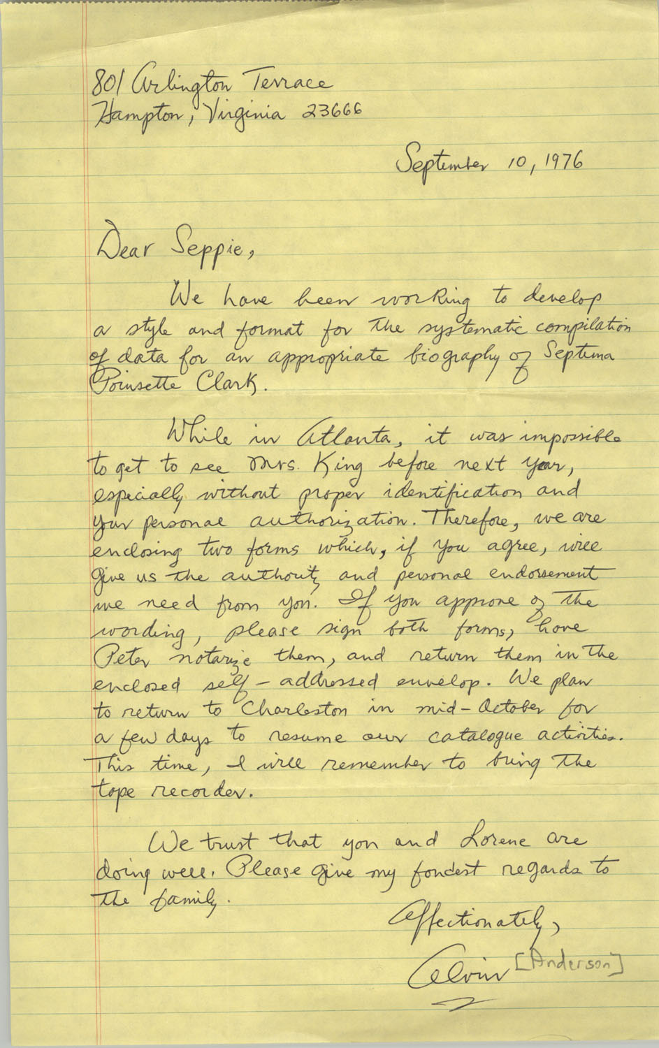 Letter from Alvin Anderson to Septima P. Clark, September 10, 1976