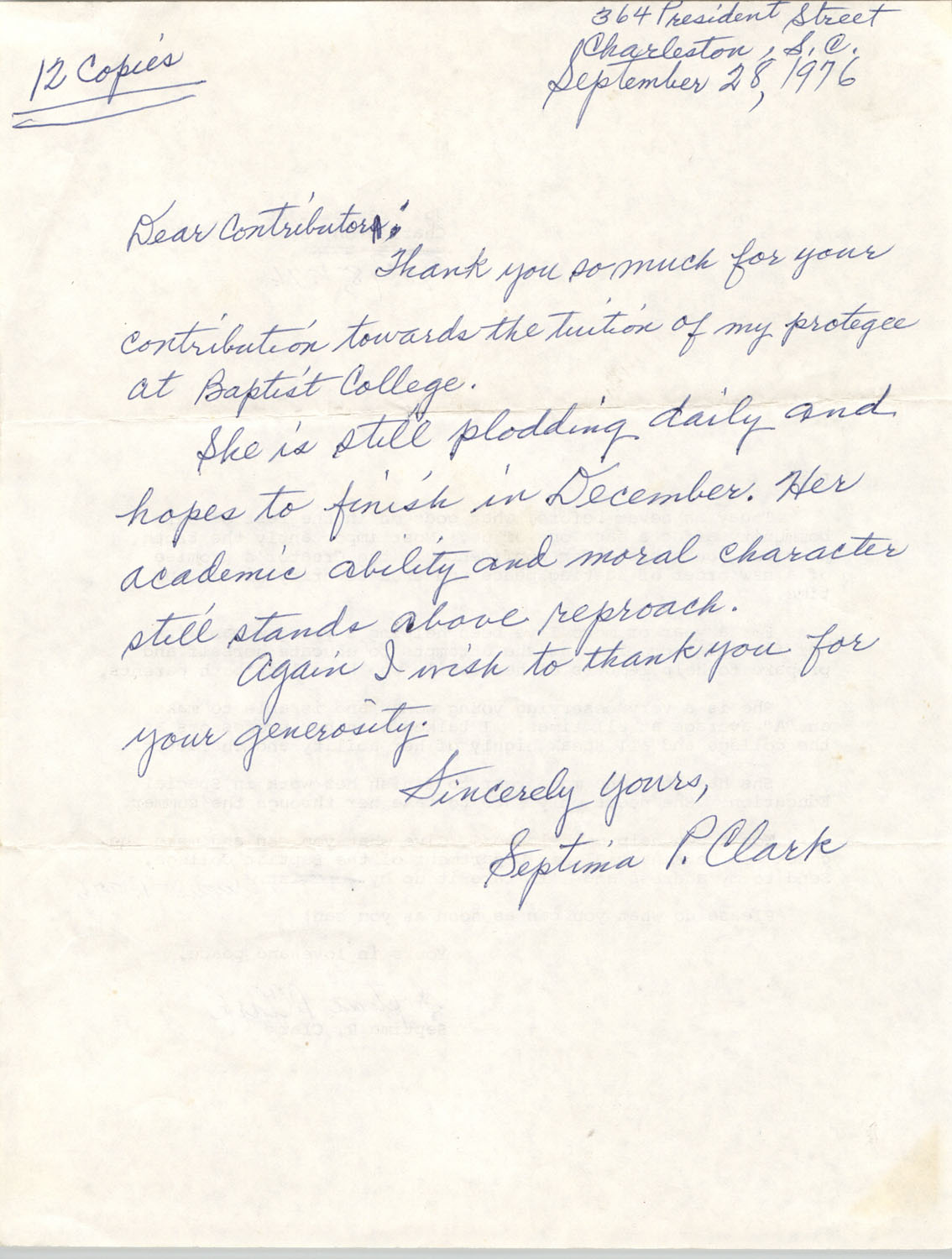 Letter from Septima P. Clark, September 28, 1976